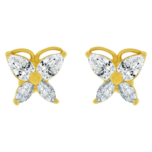 14k Yellow Gold, Mini Butterfly Stud Screw Back Earring Created CZ (E100-104)