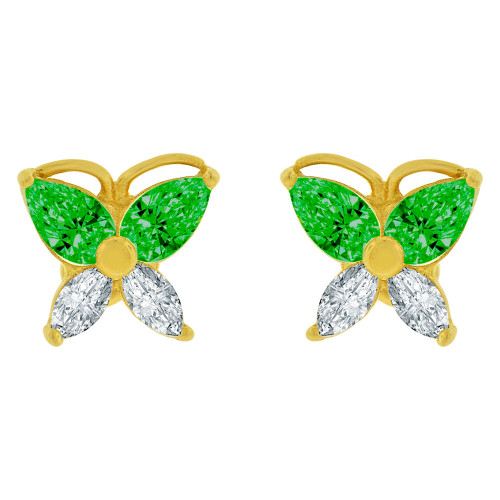 14k Yellow Gold, Mini Butterfly Stud Screw Back Earring Green Created Gems (E100-105)