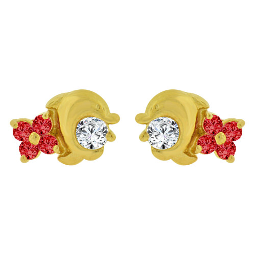 14k Yellow Gold, Mini Dolphin Stud Screw Back Earring Red Created CZ (E101-008)