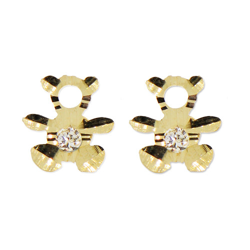 14k Yellow Gold, Mini Teddy Bear Silhouette Stud Screw Back Earring Created CZ (E101-013)