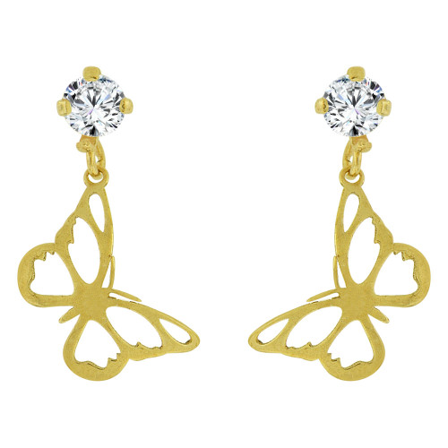 14k Yellow Gold, Small Butterfly Dangling Stud Screw Back Earring Created CZ (E101-016)
