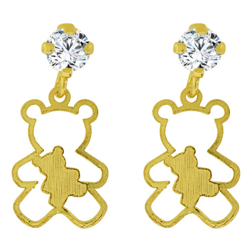 14k Yellow Gold, Small Teddy Bear Silhouette Dangling Stud Screw Back Earring Created CZ (E101-017)
