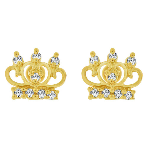 14k Yellow Gold, Mini Tiara Crown Stud Earring Created CZ (E101-018)