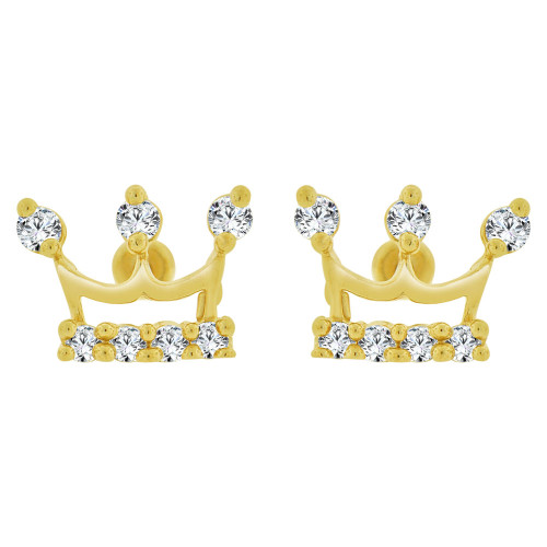 14k Yellow Gold, Mini Tiara Crown Stud Earring Created CZ (E101-019)