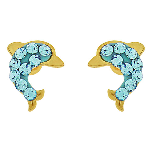 14k Yellow Gold, Ocean Blue Enamel Mini Dolphin Stud Screw Back Earring Created CZ (E101-020)