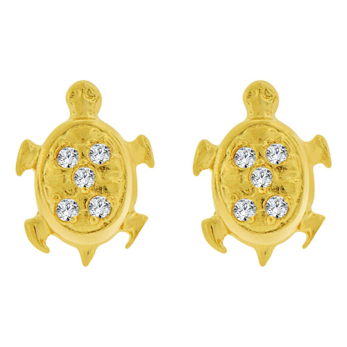 14k Yellow Gold, Mini Turtle Tortoise Stud Screw Back Earring Created CZ (E101-021)
