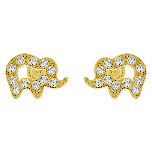 14k Yellow Gold, Mini Elephant Stud Screw Back Earring Created CZ (E101-023)