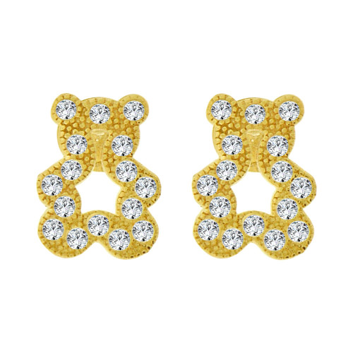 14k Yellow Gold, Mini Teddy Bear Stud Screw Back Earring Created CZ (E101-024)