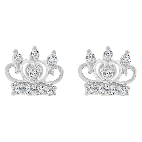 14k Gold White Rhodium, Mini Tiara Crown Stud Earring Created CZ (E101-068)