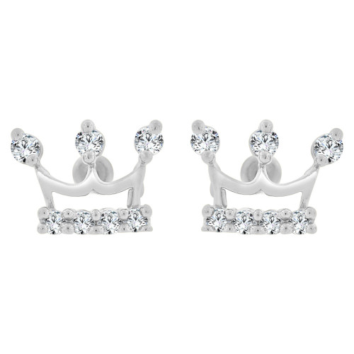 14k Gold White Rhodium, Mini Tiara Crown Stud Earring Created CZ (E101-069)