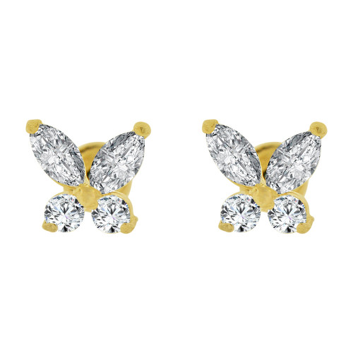 14k Yellow Gold, Mini Butterfly Stud Screw Back Earring Created CZ (E101-304)