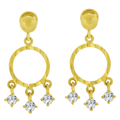 14k Yellow Gold, Small Circular Dangling Earring Created CZ (E102-004)