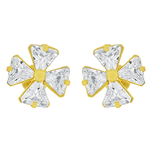 14k Yellow Gold, Mini Flower Stud Screw Back Earring Created CZ (E102-006)