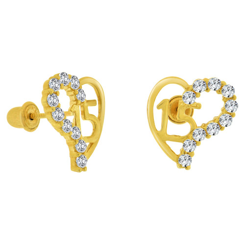 14k Yellow Gold, 15 Anos Quinceanera Stud Screw Back Earring Created CZ (E102-010)