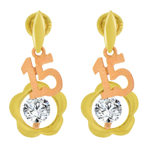 14k Yellow & Rose Gold, Quinceanera 15 Anos Heart Stud Screw Back Earring (E102-014)