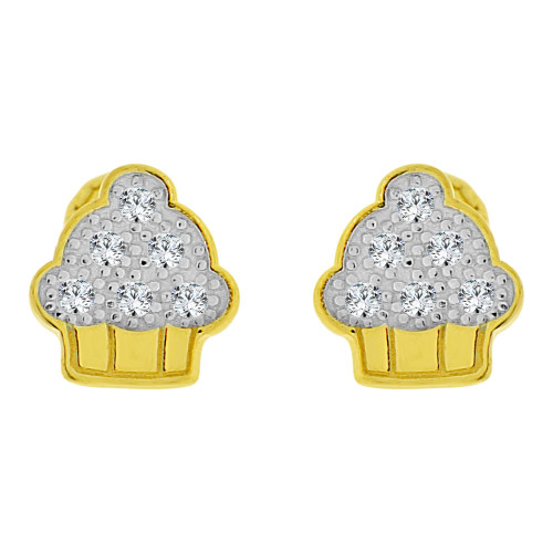 14k Yellow Gold White Rhodium, Mini Tiny Cupcake Baby Stud Earring Created CZ Screw Back (E102-016)