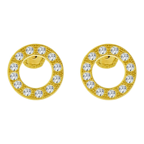14k Yellow Gold, Mini Tiny Circle of Life Baby Stud Earring Created CZ Screw Back (E102-017)