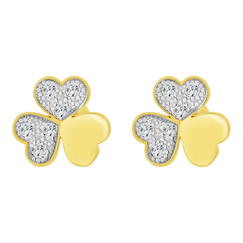 14k Yellow Gold White Rhodium, Mini Tiny Clover Leaves Baby Stud Earring Created CZ Screw Back (E102-018)