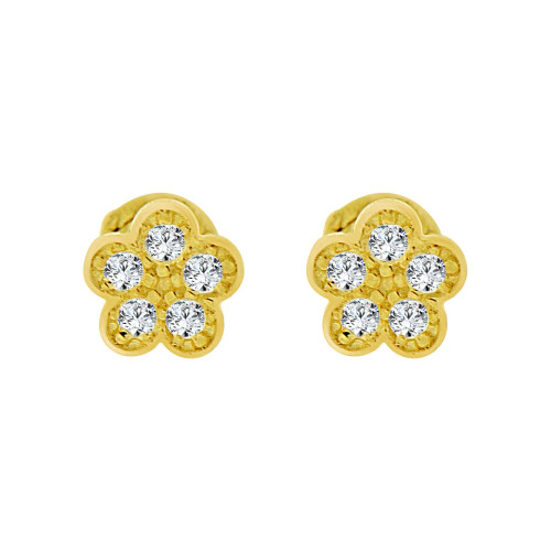 14k Yellow Gold, Mini Tiny Flower Baby Stud Earring Created CZ Screw Back (E102-019)