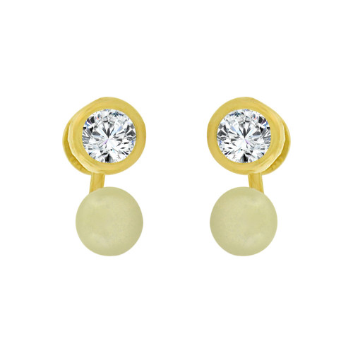 14k Yellow Gold, Mini Tiny Baby Stud Earring Created CZ Faux Simulated Pearl Screw Back (E102-020)