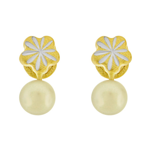 14k Yellow Gold, Mini Tiny Baby Flower Stud Earring Created CZ Faux Simulated Pearl Screw Back (E102-021)