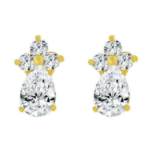 14k Yellow Gold, Mini Size Baby Pear Shape Created CZ Earring Screw Back (E102-204)