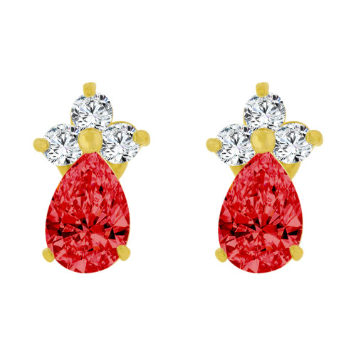 14k Yellow Gold, Mini Size Baby Pear Shape Red Created CZ Earring Screw Back (E102-207)
