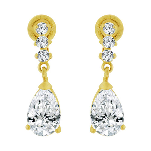 14k Yellow Gold, Small Size Baby Pear Shape Created CZ Earring Screw Back (E102-304)
