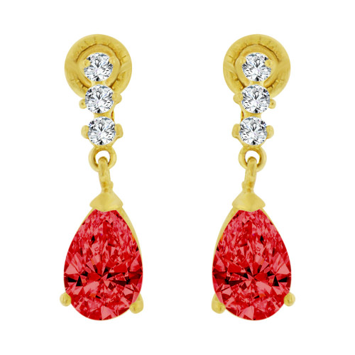 14k Yellow Gold, Small Size Baby Pear Shape Red Created CZ Earring Screw Back (E102-307)