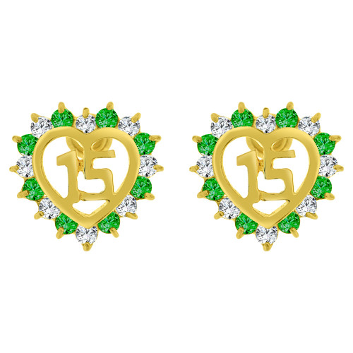 14k Yellow Gold, Quinceanera 15 Anos Heart Stud Screw Back Earring Green Created CZ (E102-805)