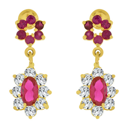 14k Yellow Gold, Small Size Fancy Drop Red Created CZ Earring Screw Back (E103-001)