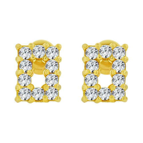 14k Yellow Gold, Mini Size Baby Rectangular Shape Earring Created CZ & Screw Backs (E103-002)