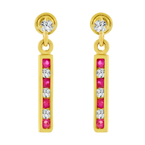 14k Yellow Gold, Small Size Drop Bar Red Created CZ Earring Screw Back (E103-007)