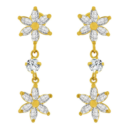 14k Yellow Gold, Small Flowers Sparkly Created CZ Drop Earring Screw Back (E103-008)