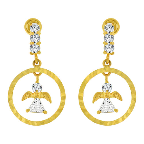 14k Yellow Gold, Small Mini Angels Sparkly Created CZ Drop Earring Screw Back (E103-009)