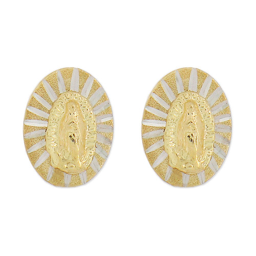 14k Yellow Gold White Rhodium, Small Virgin Mary Design Religious Stud Screw Back Earring Oval (E103-014)