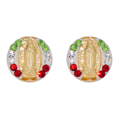 14k Yellow Gold, Small Size Virgin Mary Design Stud Screw Back Earring Created CZ (E103-016)