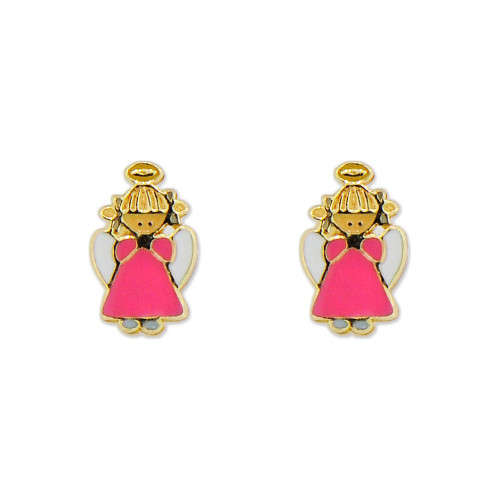 14k Yellow Gold, Mini Size Baby Angel Design Stud Screw Back Stud Earring  (E103-017)
