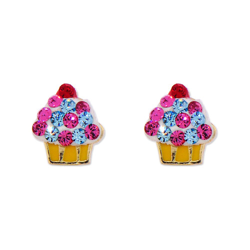14k Yellow Gold, Mini Size Cupcake Stud Screw Back Earring Created CZ Colorful Enamel (E103-019)