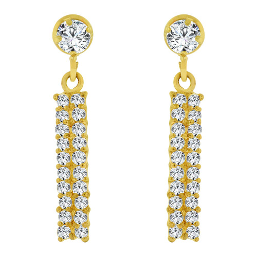 14k Yellow Gold, Sparkly Small Size Dangling Created CZ Earring Screw Back (E103-124)