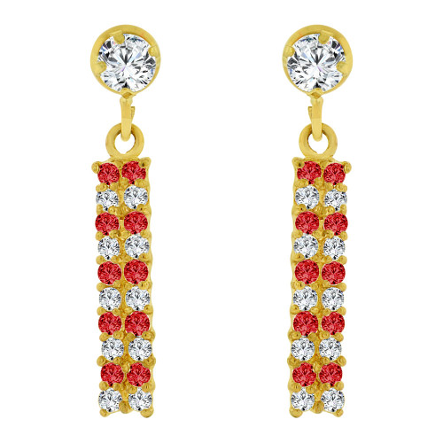 14k Yellow Gold, Sparkly Small Size Dangling Red Created CZ Earring Screw Back (E103-127)