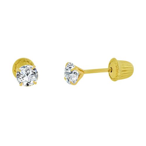 14k Yellow Gold, Classic 3mm Round Created Cubic Zirconia Stud Earring Screw Back (E104-015)