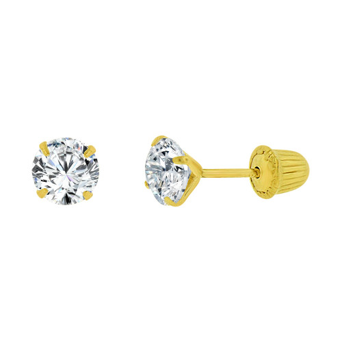 14k Yellow Gold, Classic 4mm Round Created Cubic Zirconia Stud Earring Screw Back (E104-016)