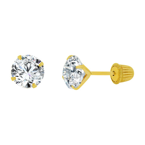 14k Yellow Gold, Classic 5mm Round Created Cubic Zirconia Stud Earring Screw Back (E104-017)
