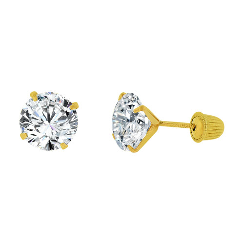 14k Yellow Gold, Classic 6mm Round Created Cubic Zirconia Stud Earring Screw Back (E104-018)