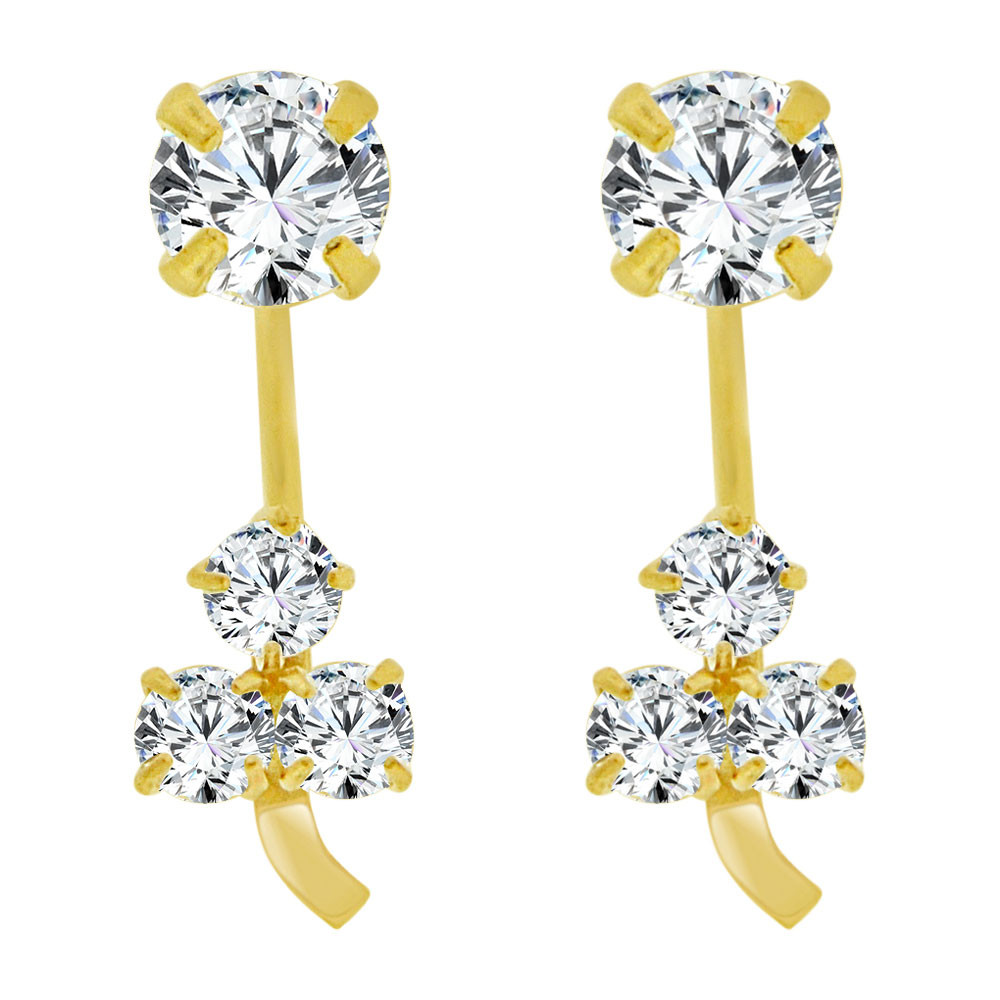 14k Yellow Gold, Classic Telephone Earring 3mm Round Created Cubic Zirconia  Screw (E104-020)
