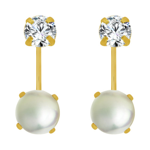 14k Yellow Gold, Classic Telephone Earring 3mm Round Created CZ & Faux Created Pearls (E104-021)