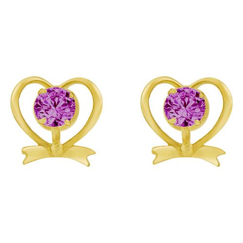 14k Yellow Gold, Mini Heart Stud Screw Back Earring Violet Feb Created CZ (E104-112)