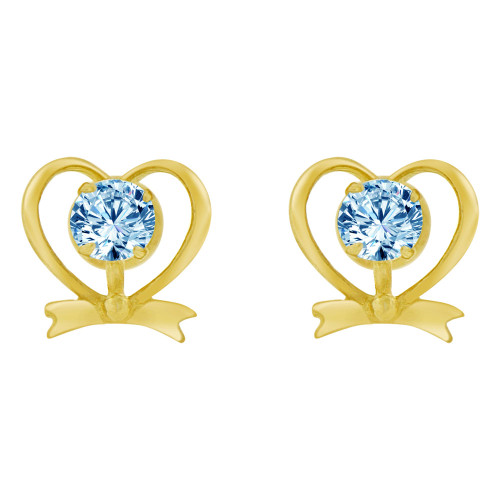 14k Yellow Gold, Mini Heart Stud Screw Back Earring Aqua Blue Mar Created CZ (E104-113)