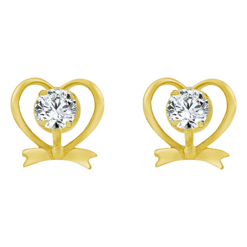 14k Yellow Gold, Mini Heart Stud Screw Back Earring Created CZ (E104-114)